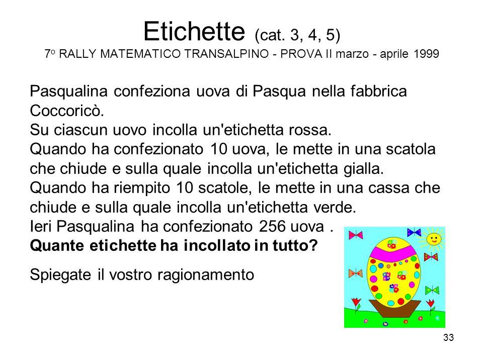 Etichette (cat. 3, 4, 5) 7o RALLY MATEMATICO TRANSALPINO - PROVA II marzo - aprile 1999