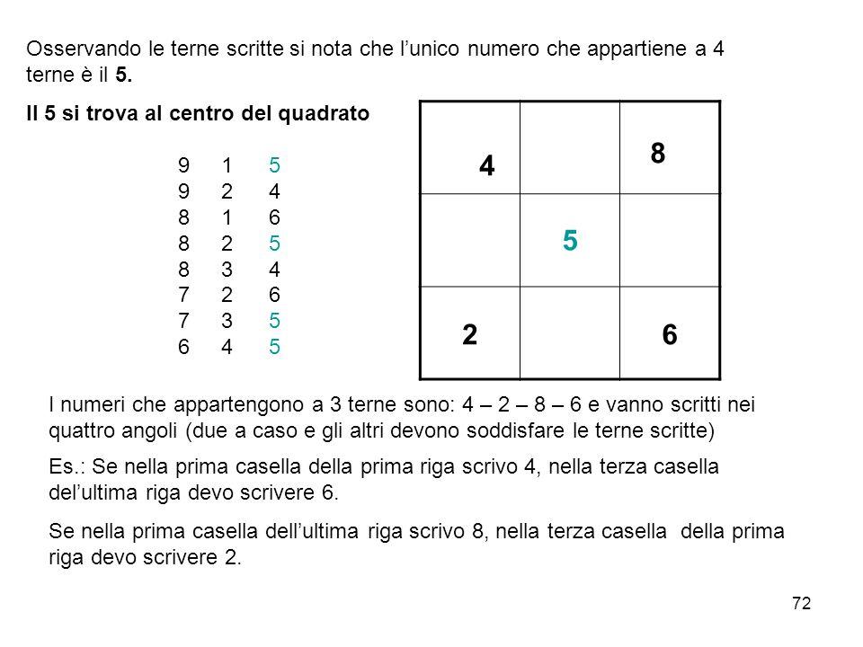 Osservando le terne scritte si nota che l'unico numero che appartiene a 4 terne è il 5.