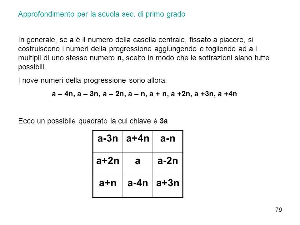 a – 4n, a – 3n, a – 2n, a – n, a + n, a +2n, a +3n, a +4n