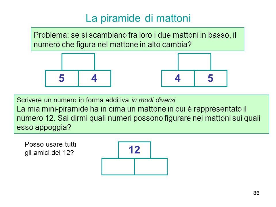 La piramide di mattoni Problema: se si scambiano fra loro i due mattoni in basso, il numero che figura nel mattone in alto cambia