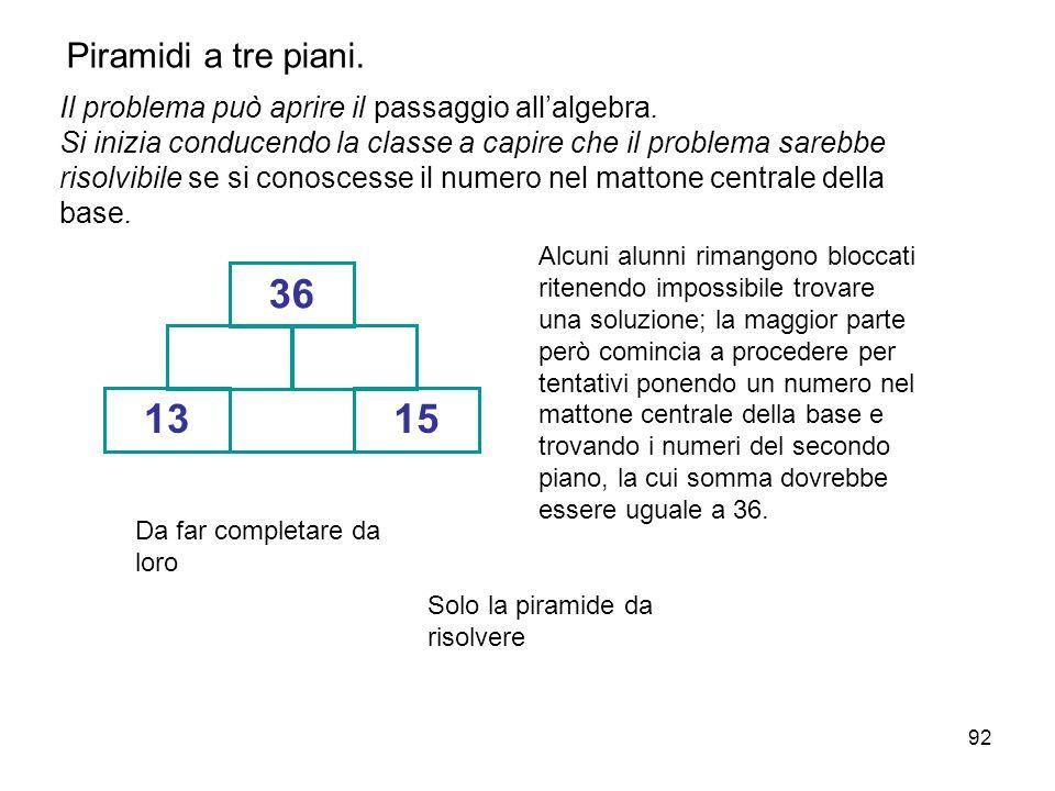Piramidi a tre piani. Il problema può aprire il passaggio all'algebra.
