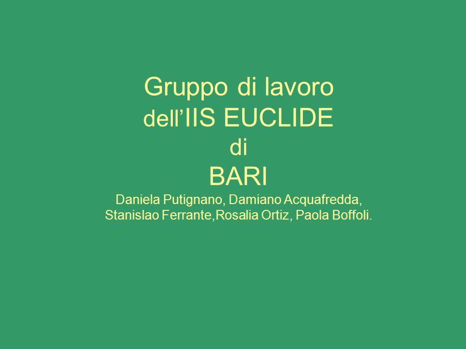 Gruppo di lavoro dell'IIS EUCLIDE di BARI Daniela Putignano, Damiano Acquafredda, Stanislao Ferrante,Rosalia Ortiz, Paola Boffoli.