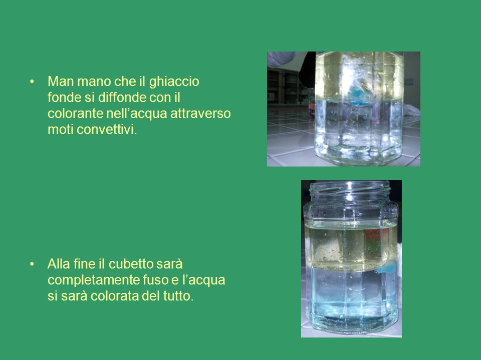 Man mano che il ghiaccio fonde si diffonde con il colorante nell'acqua attraverso moti convettivi.