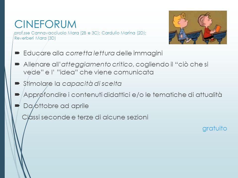 CINEFORUM prof.sse Cannavacciuolo Mara (2B e 3C); Cardullo Marina (2D); Reverberi Mara (3D)
