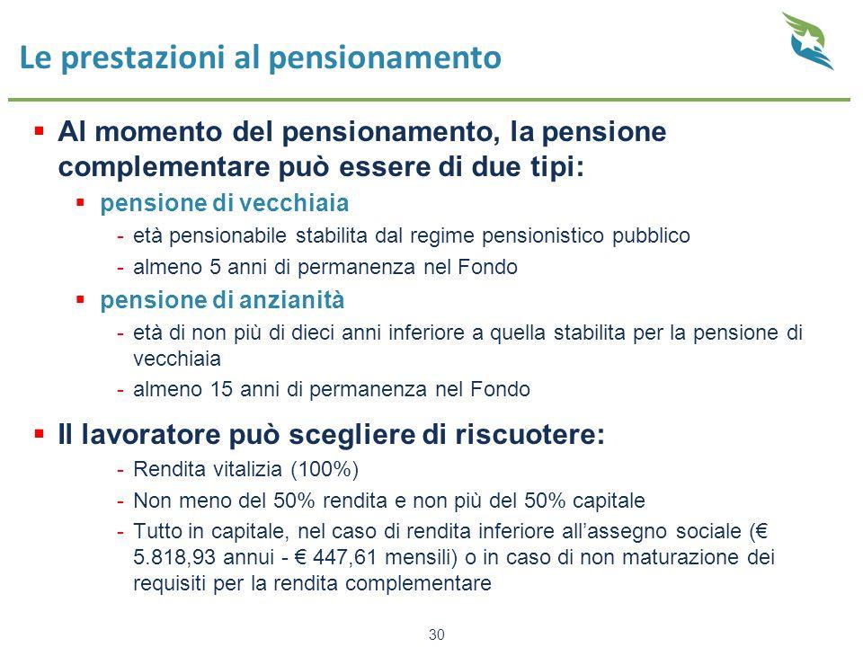 Le prestazioni al pensionamento
