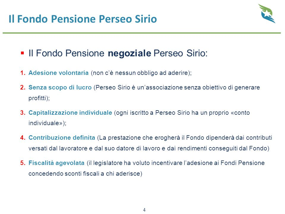 Il Fondo Pensione Perseo Sirio
