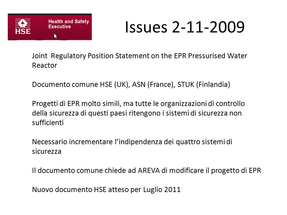 Issues 2-11-2009 Joint Regulatory Position Statement on the EPR Pressurised Water Reactor.