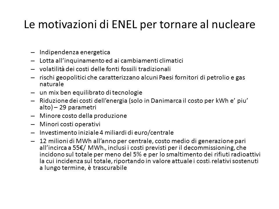 Le motivazioni di ENEL per tornare al nucleare