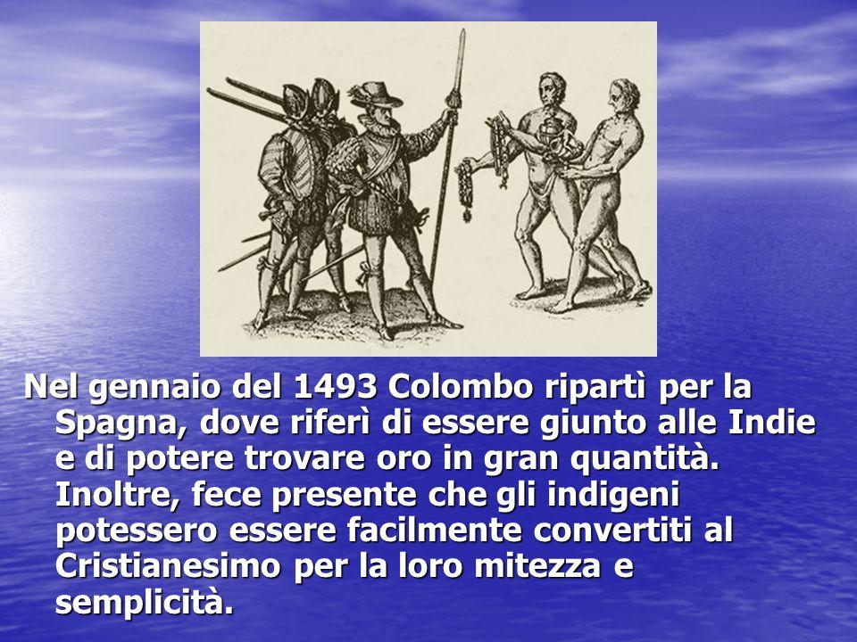 Nel gennaio del 1493 Colombo ripartì per la Spagna, dove riferì di essere giunto alle Indie e di potere trovare oro in gran quantità.