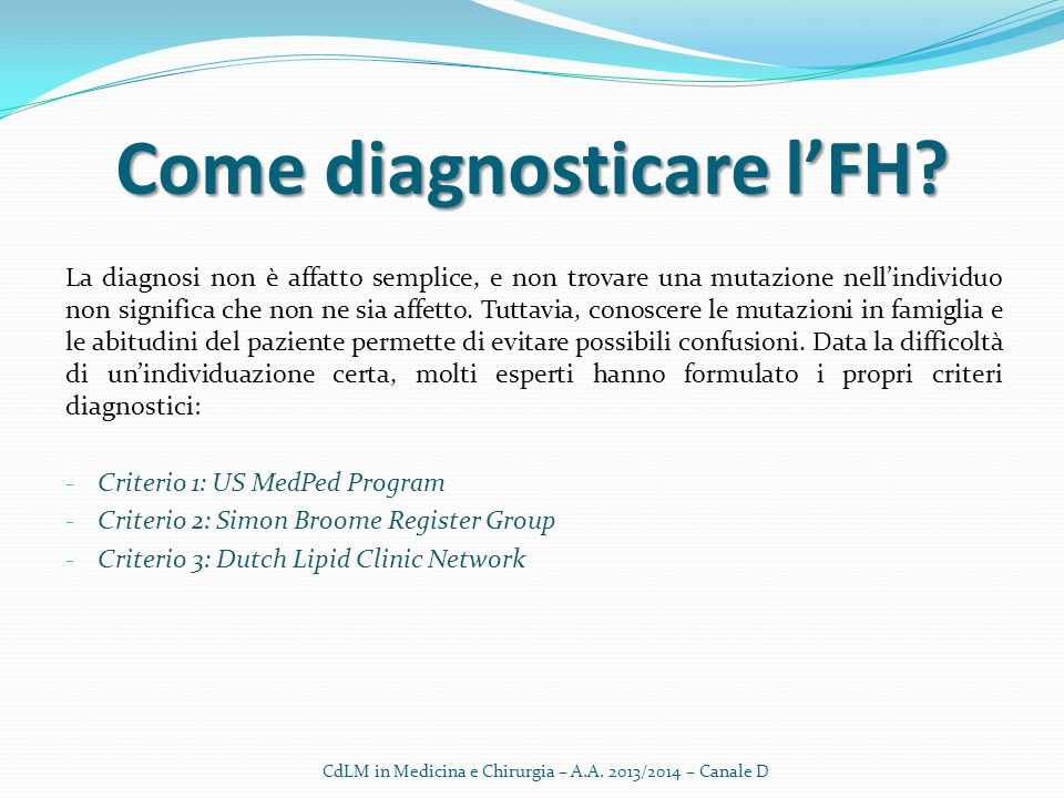 Come diagnosticare l'FH