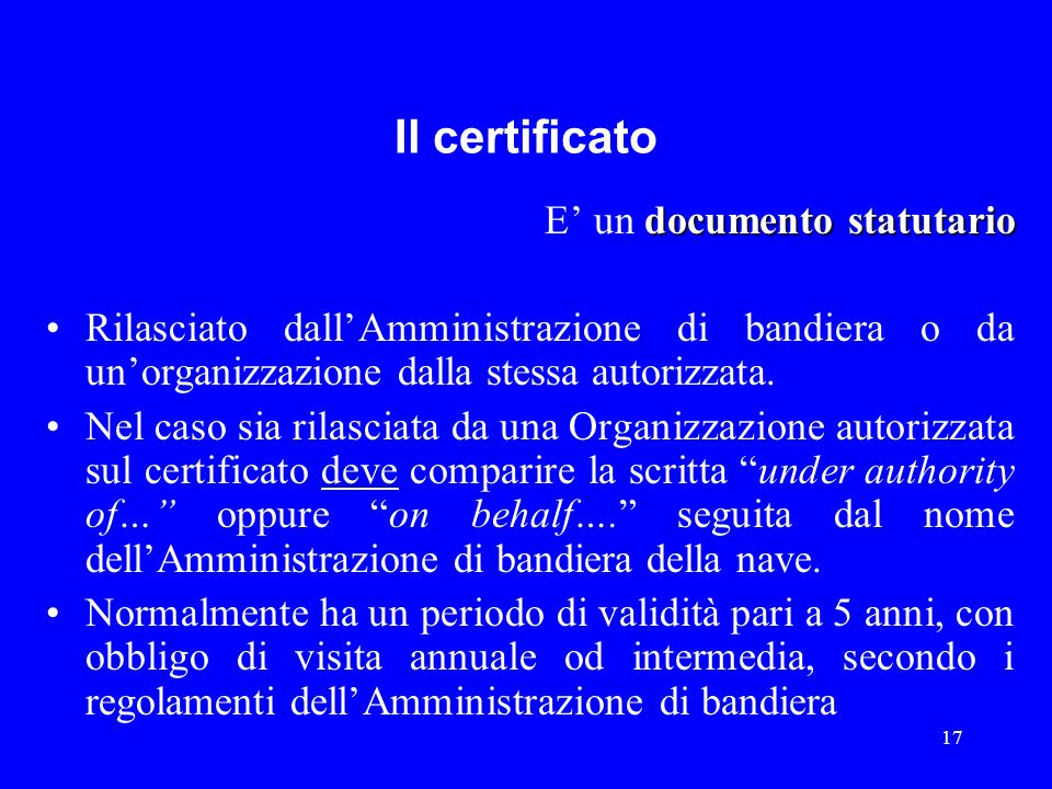 Il certificato E' un documento statutario