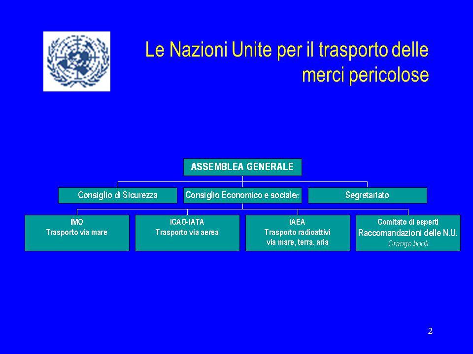 Le Nazioni Unite per il trasporto delle merci pericolose