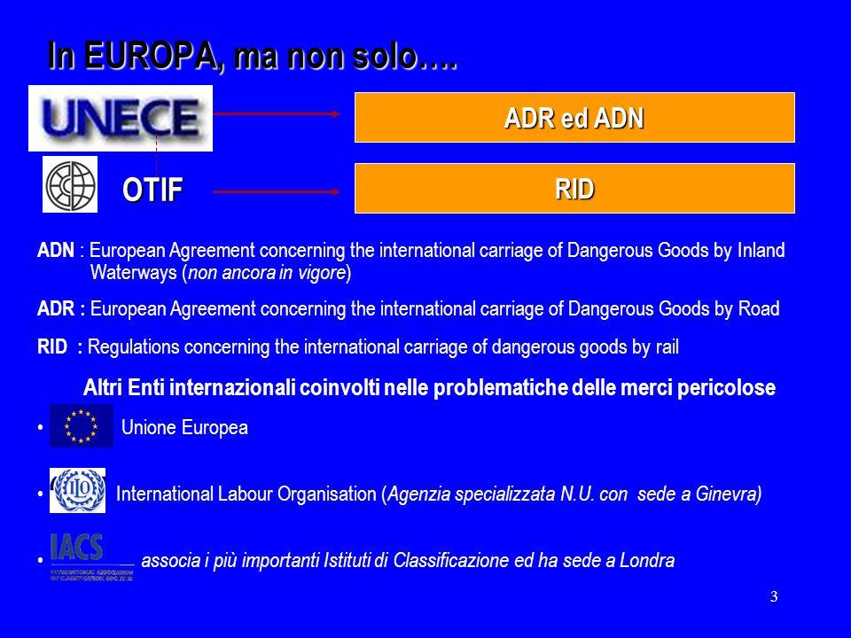 In EUROPA, ma non solo…. OTIF ADR ed ADN RID