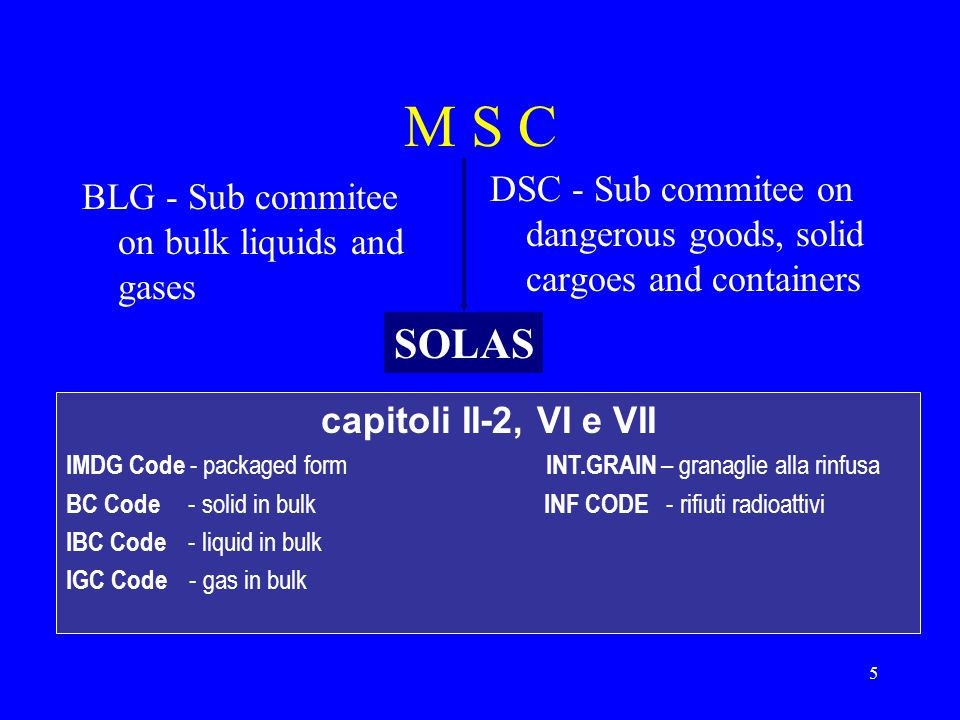 M S C DSC - Sub commitee on dangerous goods, solid cargoes and containers. BLG - Sub commitee on bulk liquids and gases.