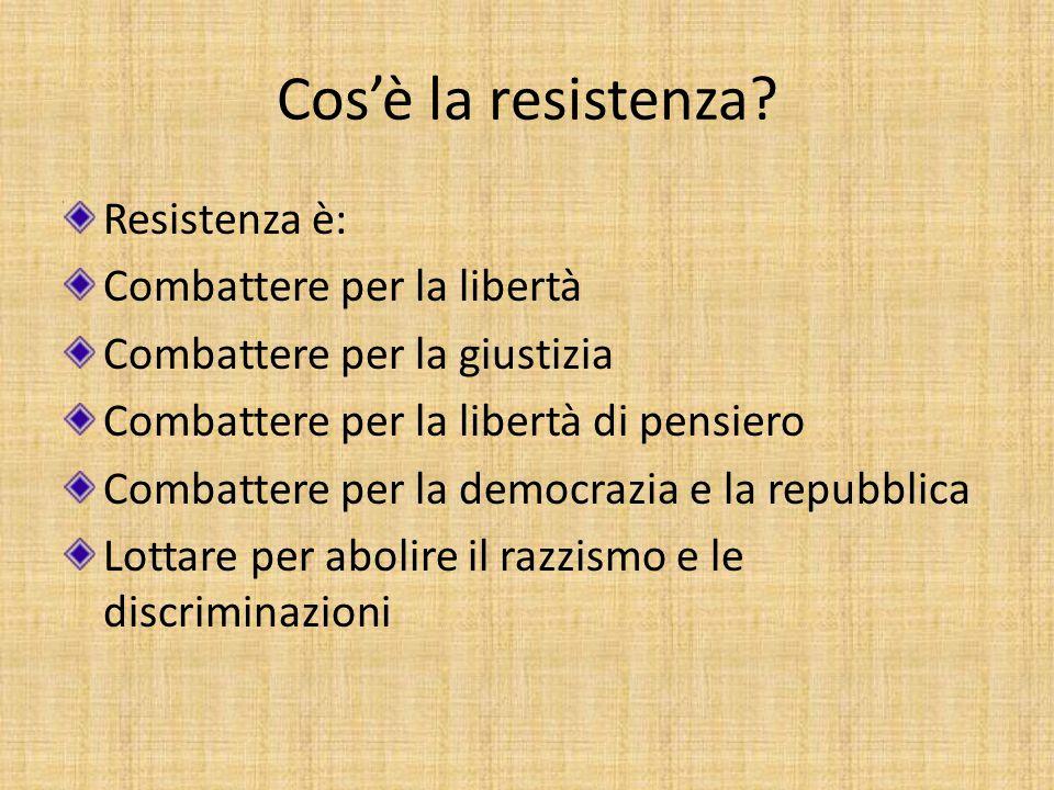 Cos'è la resistenza Resistenza è: Combattere per la libertà