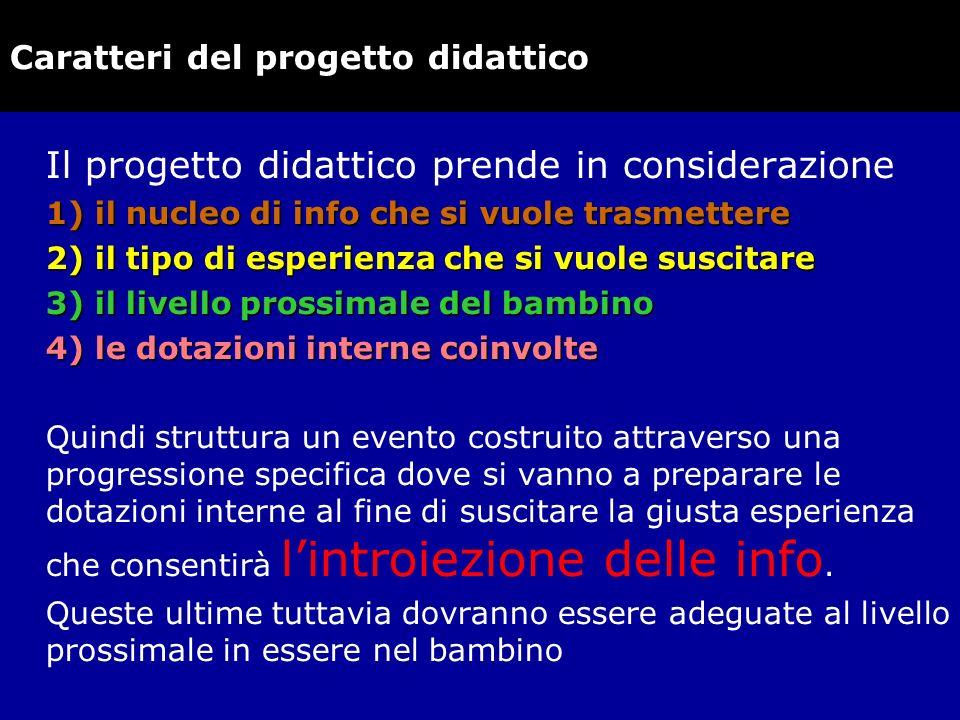 Caratteri del progetto didattico