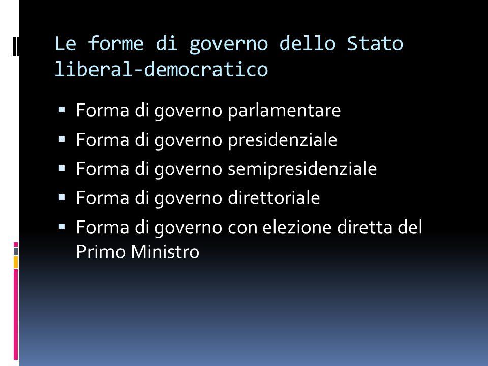 Le forme di governo dello Stato liberal-democratico