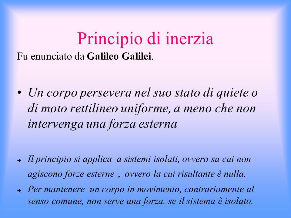 Principio di inerzia Fu enunciato da Galileo Galilei.