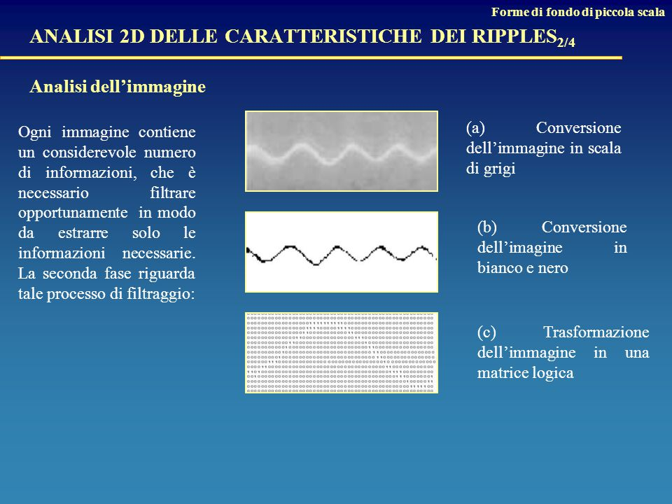 ANALISI 2D DELLE CARATTERISTICHE DEI RIPPLES2/4 Analisi dell'immagine