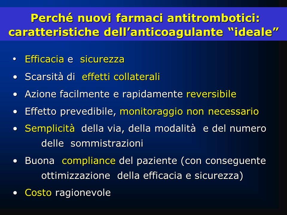 Perché nuovi farmaci antitrombotici: caratteristiche dell'anticoagulante ideale
