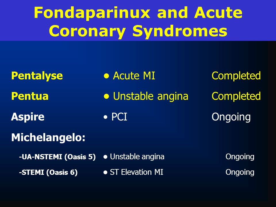Fondaparinux and Acute Coronary Syndromes