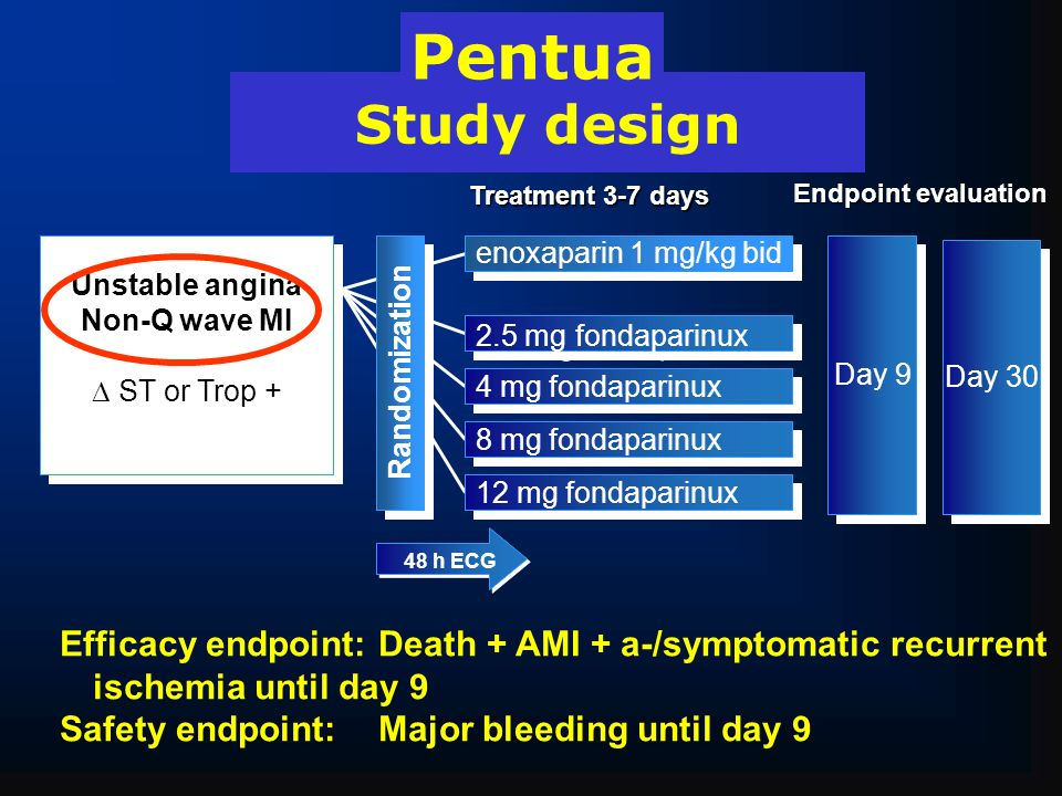 Pentua Study design. Treatment 3-7 days. Endpoint evaluation. Unstable angina. Non-Q wave MI.  ST or Trop +