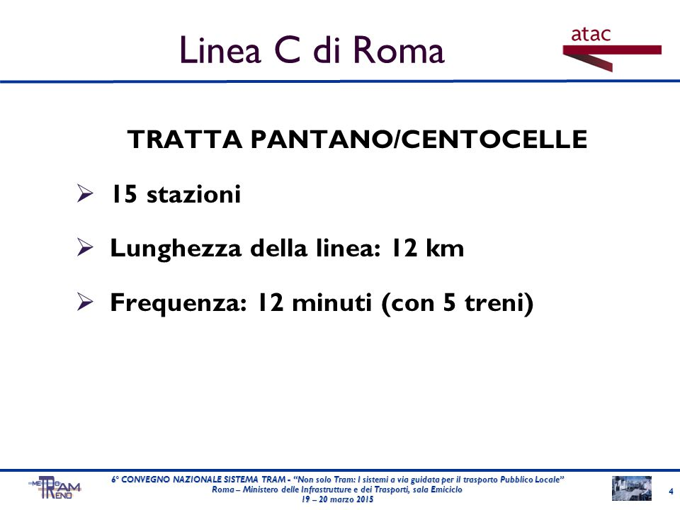 Linea C di Roma TRATTA PANTANO/CENTOCELLE 15 stazioni