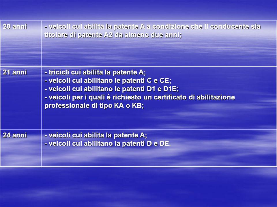 20 anni - veicoli cui abilita la patente A a condizione che il conducente sia titolare di patente A2 da almeno due anni;