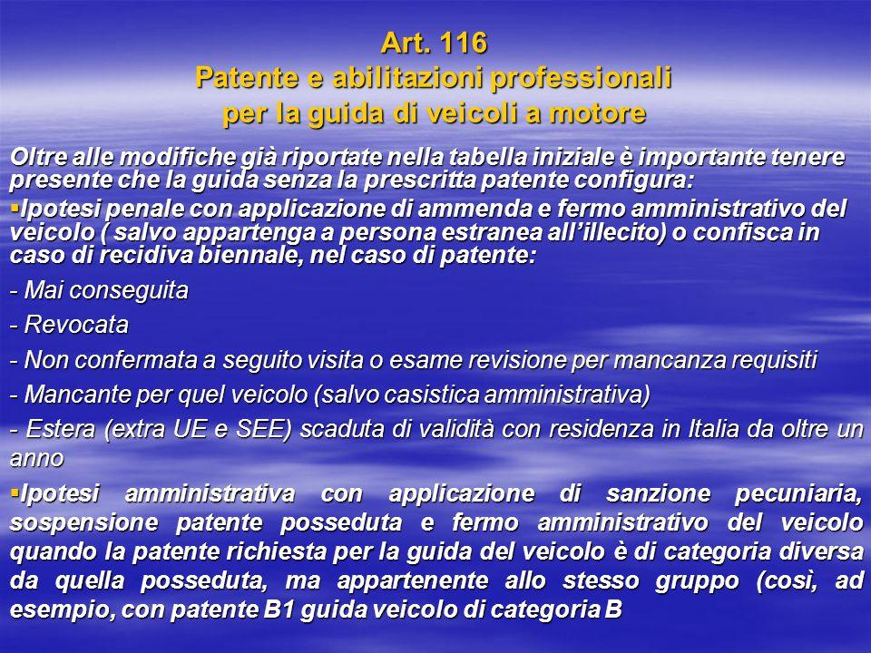 Art. 116 Patente e abilitazioni professionali per la guida di veicoli a motore