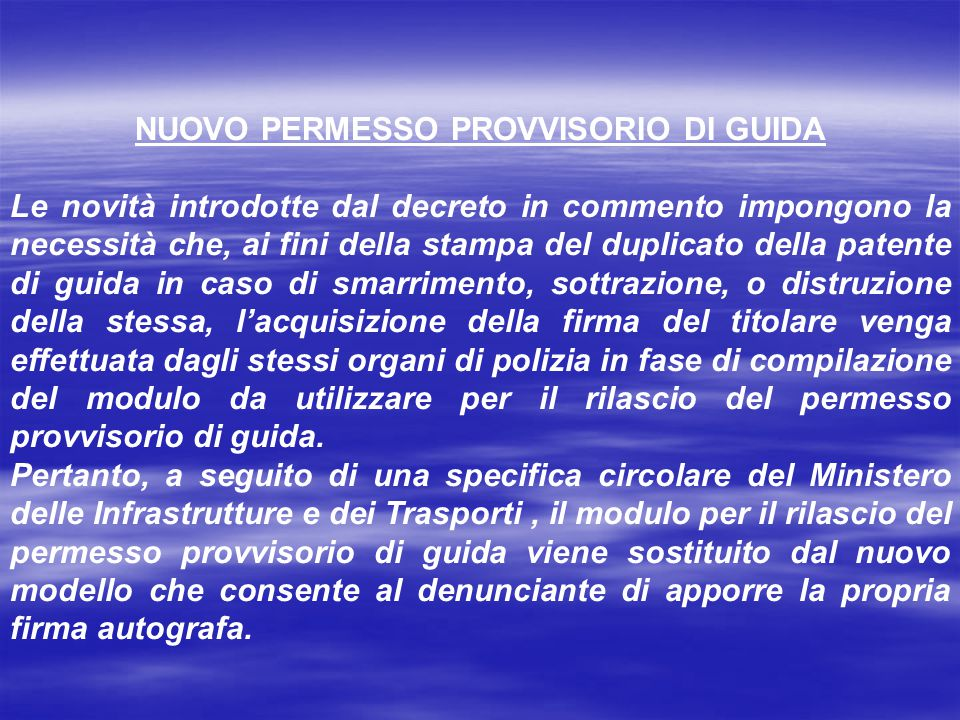 NUOVO PERMESSO PROVVISORIO DI GUIDA