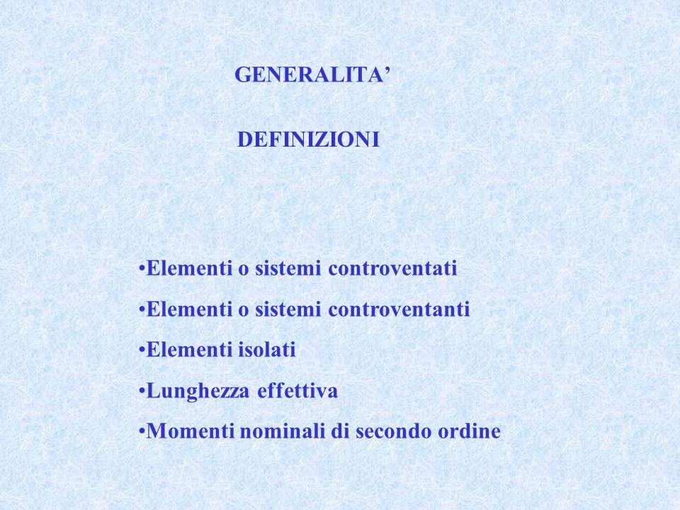 GENERALITA' DEFINIZIONI. Elementi o sistemi controventati. Elementi o sistemi controventanti. Elementi isolati.
