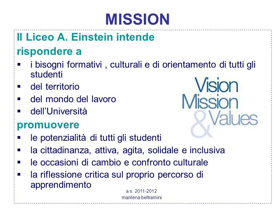 MISSION Il Liceo A. Einstein intende rispondere a promuovere
