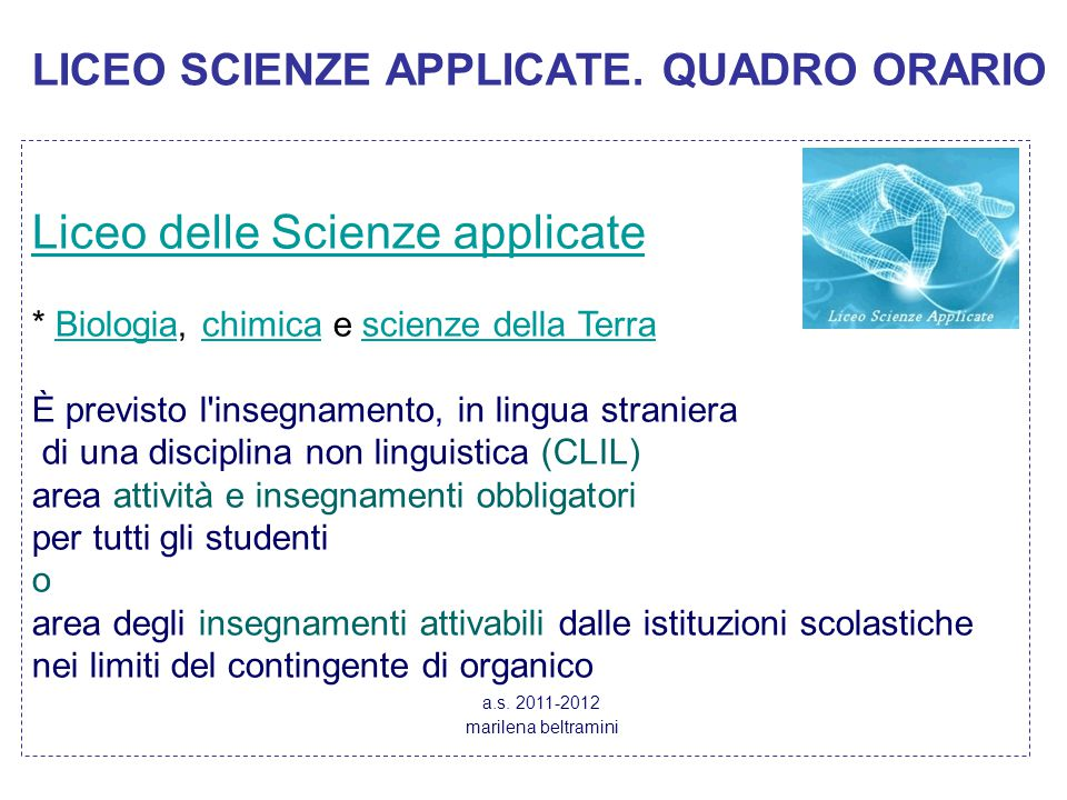 LICEO SCIENZE APPLICATE. QUADRO ORARIO