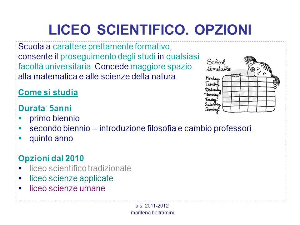 LICEO SCIENTIFICO. OPZIONI