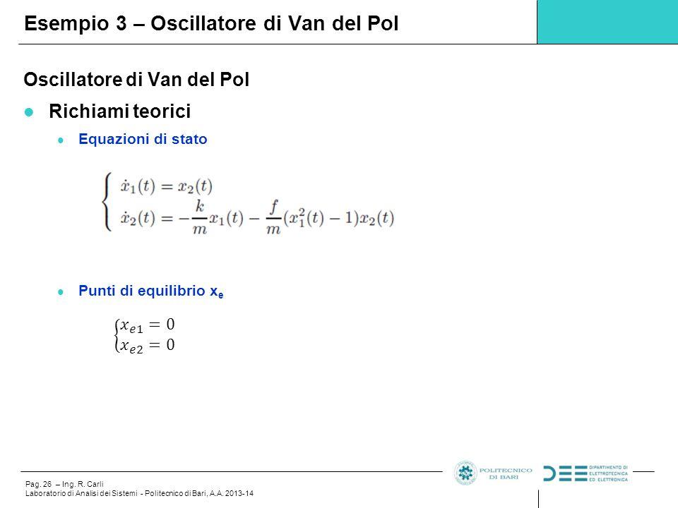 Esempio 3 – Oscillatore di Van del Pol