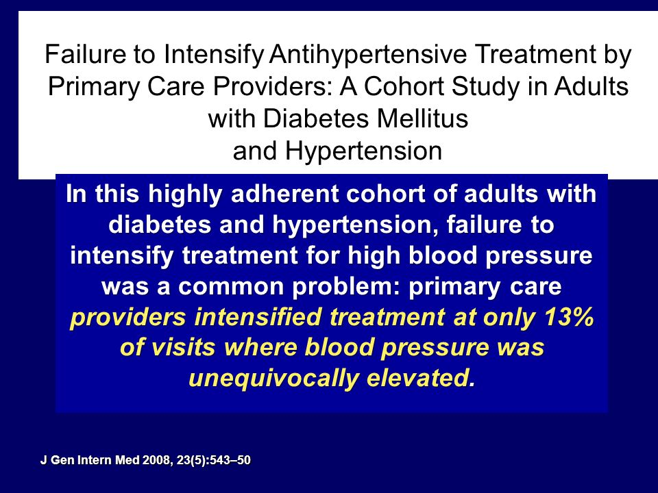 Failure to Intensify Antihypertensive Treatment by Primary Care Providers: A Cohort Study in Adults with Diabetes Mellitus