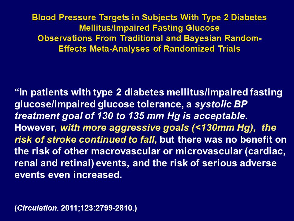 Blood Pressure Targets in Subjects With Type 2 Diabetes