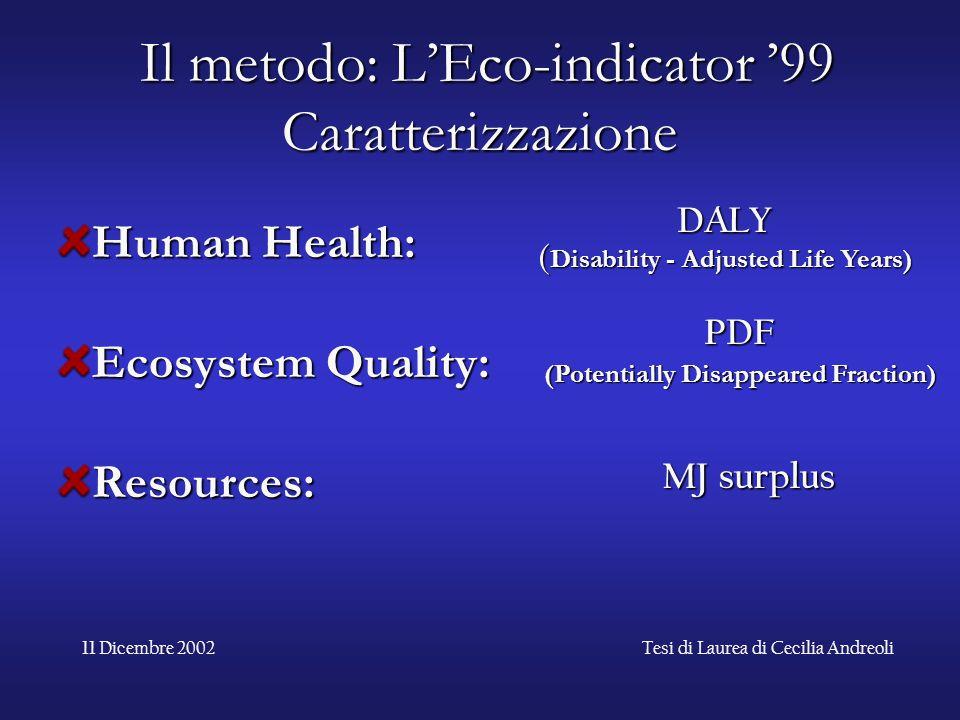Il metodo: L'Eco-indicator '99 Caratterizzazione