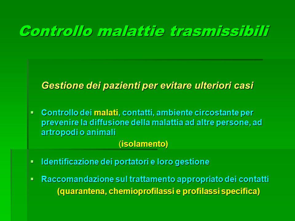Controllo malattie trasmissibili