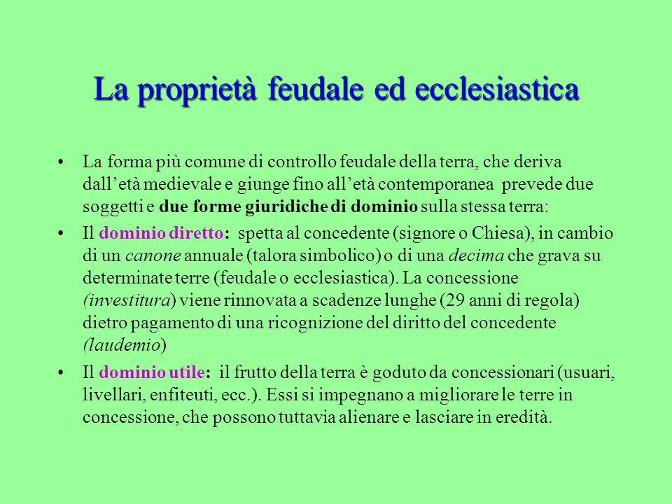La proprietà feudale ed ecclesiastica