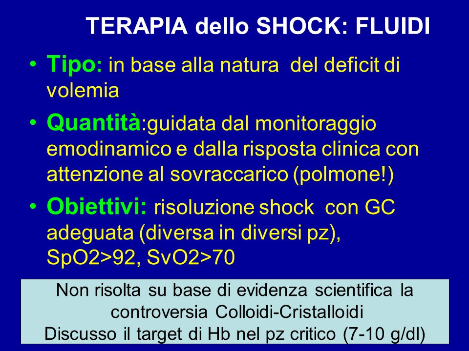 TERAPIA dello SHOCK: FLUIDI