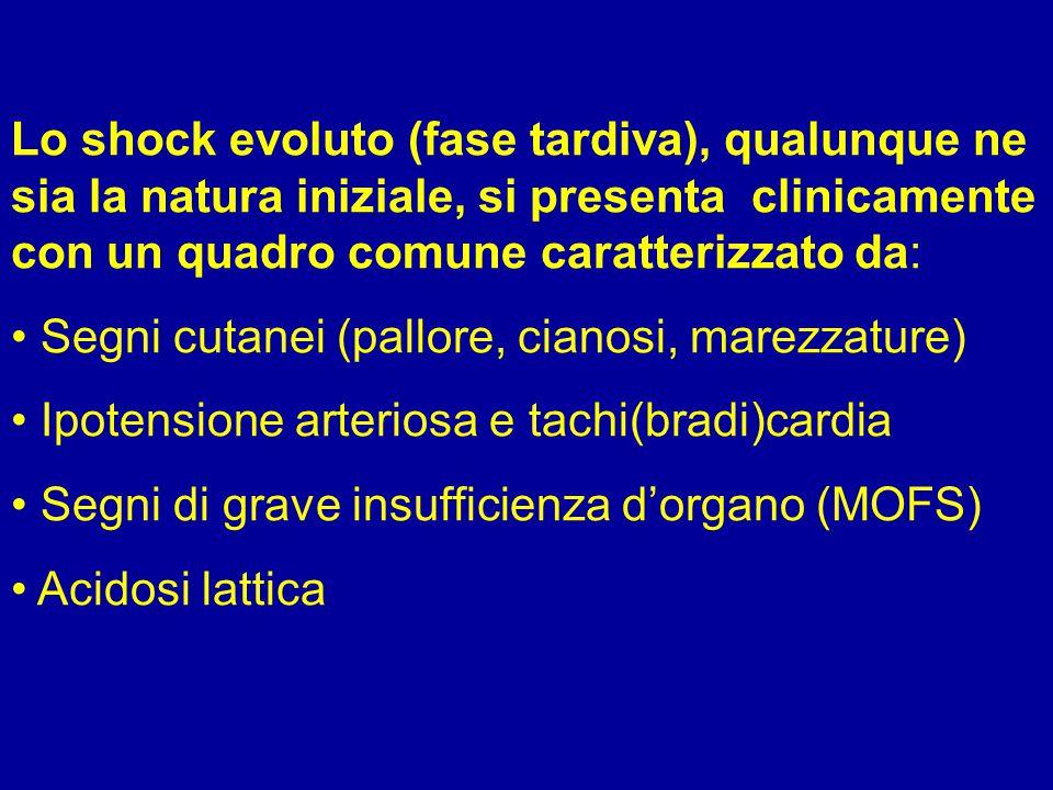 Lo shock evoluto (fase tardiva), qualunque ne sia la natura iniziale, si presenta clinicamente con un quadro comune caratterizzato da: