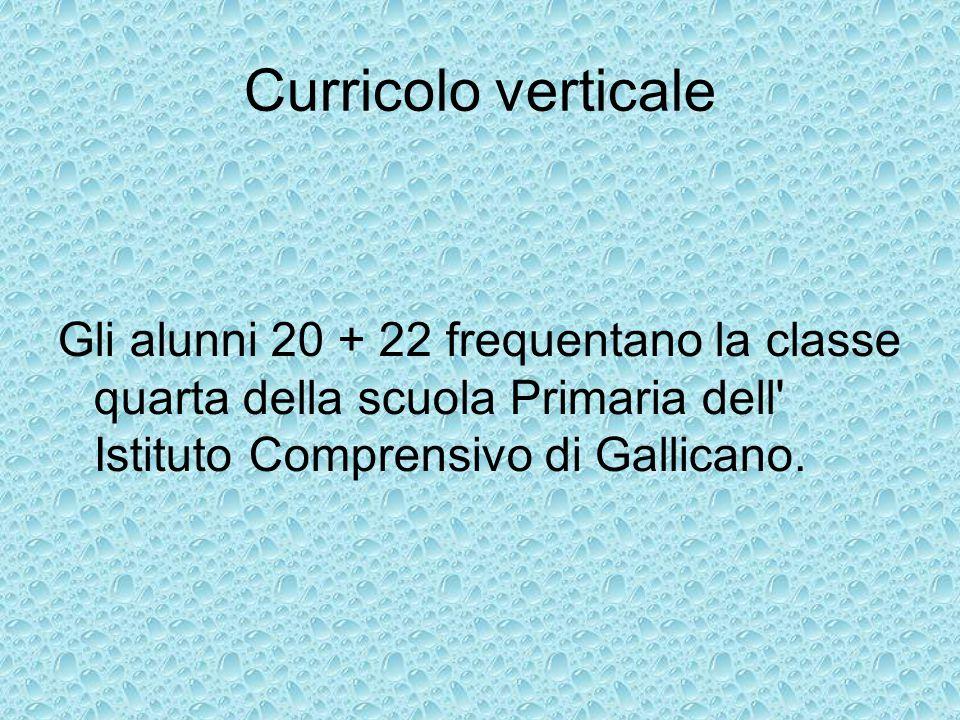 Curricolo verticale Gli alunni 20 + 22 frequentano la classe quarta della scuola Primaria dell Istituto Comprensivo di Gallicano.
