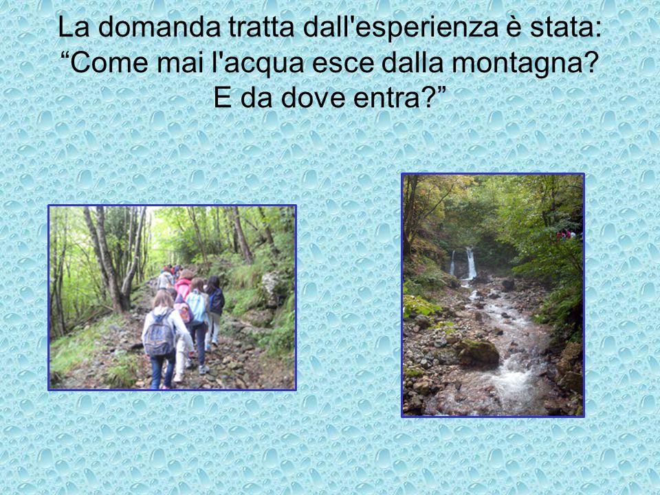 La domanda tratta dall esperienza è stata: Come mai l acqua esce dalla montagna E da dove entra