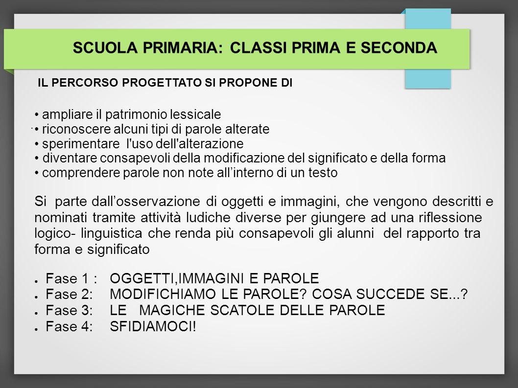 SCUOLA PRIMARIA: CLASSI PRIMA E SECONDA
