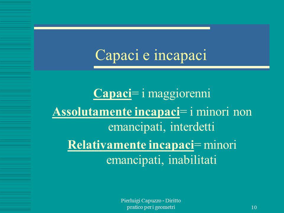 Capaci e incapaci Capaci= i maggiorenni