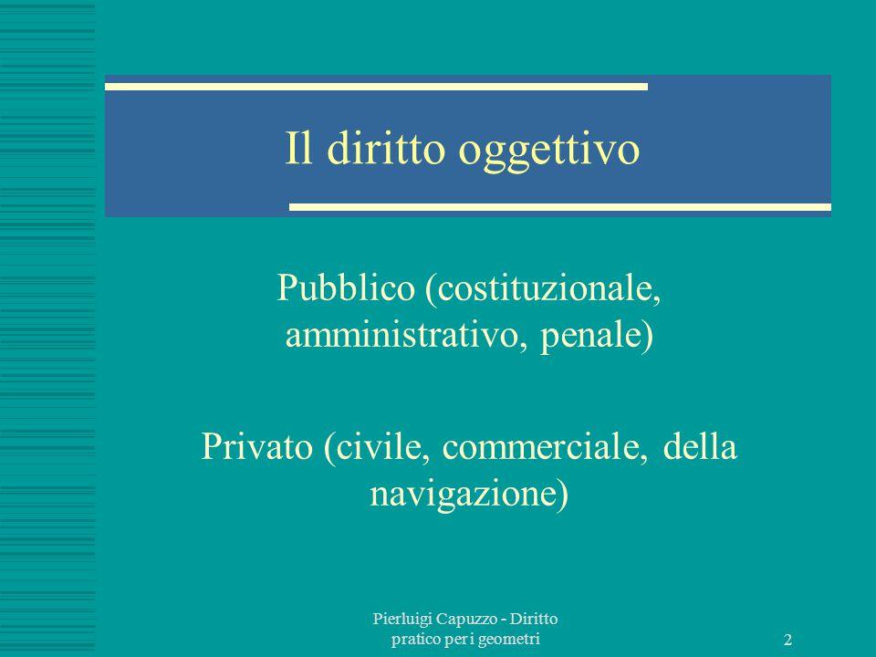 Il diritto oggettivo Pubblico (costituzionale, amministrativo, penale)