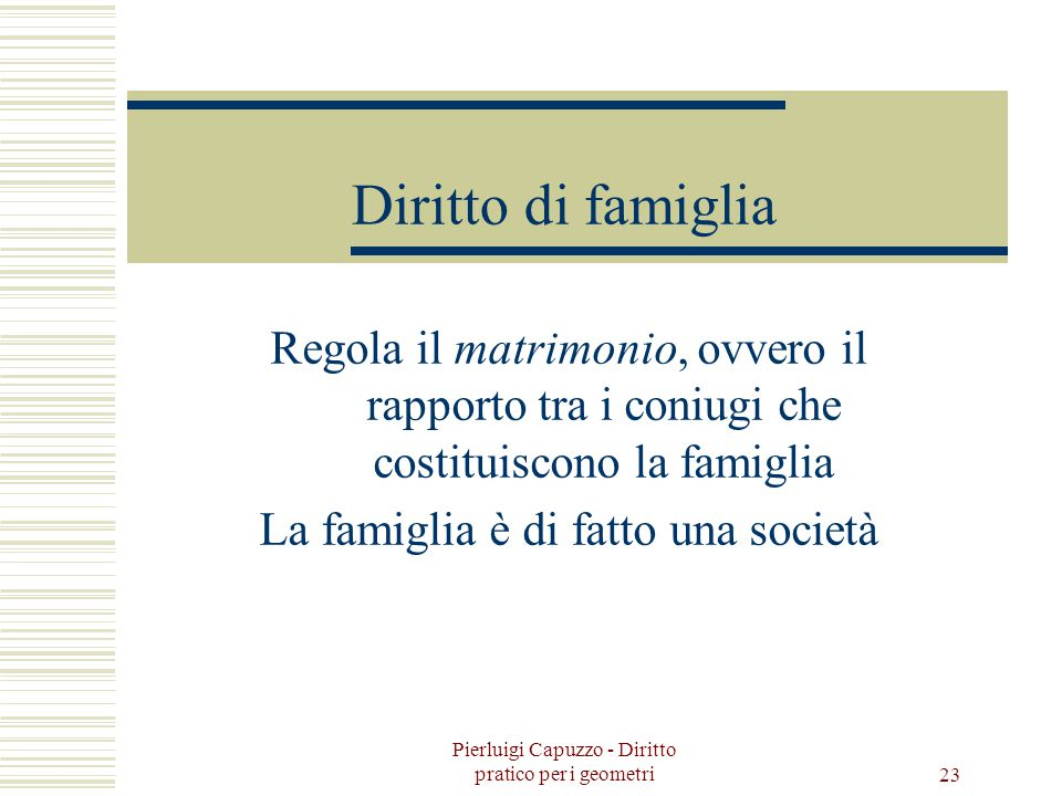 Diritto di famiglia Regola il matrimonio, ovvero il rapporto tra i coniugi che costituiscono la famiglia.