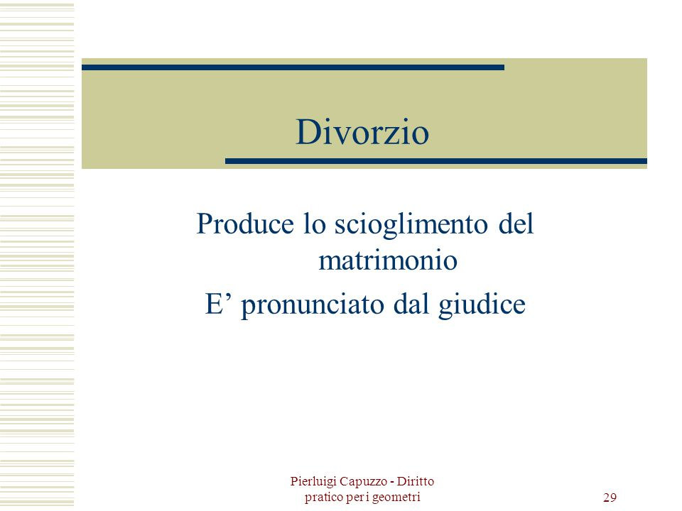 Produce lo scioglimento del matrimonio E' pronunciato dal giudice