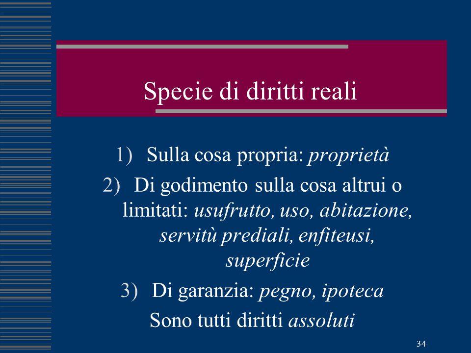 Specie di diritti reali
